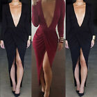 New Summer Deep V-Neck Long Sleeve Maxi Dress Sexy Women Bodycon Plus Size Dress