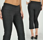 PLUS CAPRI Crop Rollover Yoga Pants BLACK, HEATHER GREY, 1XL 2XL 3XL