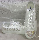 ♥ Customised/Personalised White Crystal Bling Sparkle Wedding Bridal Converse ♥