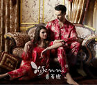 Free shipping Red silk blend Women/Man Pajama Sets Sleepwear/Sleep coat