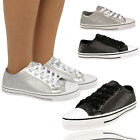 Ladies Black & Silver Glittering Sneakers Trainers Plimsoll Women Girls Shoes UK