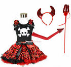Halloween White Skull Black Top Red Black Dot Skirt Devil Costume Set 1-8Year