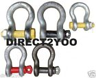 Safety Pin Shackle 8.5 to 13.5 Ton Bow Screw Round Curved Black Yellow Red