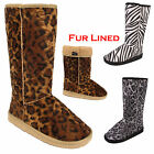 WOMENS LADIES GIRLS FLAT FUR FAUX SNUGG ANIMAL PRINT CALF FUR LINED BOOTS