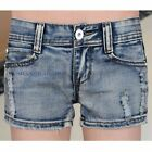Women Denim Hot Pants Jean Shorts Sexy Distressed Ripped Fray Faded Blue Vintage
