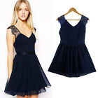 D Fashion Womens Sexy Backless V Neck Lace Chiffon Party Evening Cocktail Dress