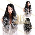 """Long Curly 18""""- 28"""" Black Roots with Grey Tips Customizable Lace Front Wig"""
