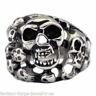 Mens Skull Ring Stainless Steel Skull Graveyard Ring Size 9 10 11 12 13 14 15