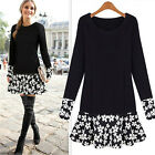Crew Neck  Women Long Sleeve Floral Blouse Bodycon Party Mini Dress New Style