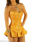 Tight lacing Skirted corset Gold silk brocade steel boned corseted skirt crsgold