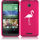 For HTC Desire 510 Rubber Hard Snap On 2 Piece Case Cover Flamingo