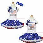 4th July Rhinestone I LOVE USA White Halter Patriotic Star One Piece Dress 1-8Y
