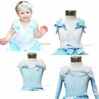 Fairy Pumpkin Carriage Princess Cinderella Baby Girl White Blue Top Shirt NB-10Y
