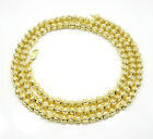 "30-40"" Inch 6mm 10k Yellow Gold Bead Ball Moon Cut Chain Necklace Mens Ladies"