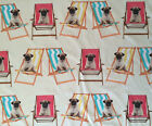 Pugs on Deckchairs bright 100% Cotton Digitally Printed Curtain Upholstery Fa...