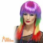 Rainbow Rocker Wig 80s Punk Mullet Long Rocker Multi Coloured Ladies Fancy Dress