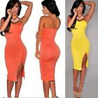 Women Strapless Bodycon Split Pencil Cocktail Bridesmaid Dress Knee Length Skirt