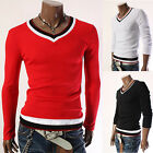 G Casual Mens Stylish Cotton Blend Slim Fit Long Sleeve V-Neck Tops T-Shirt