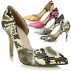 Ladies Womens High Heel Pointed Toe Asymmetric Animal Print Stiletto Court Shoes