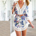 2015 Women's Summer Sexy Lace Floral Casual Short Evening Party Mini Dress