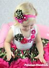 White Top Camouflage Vintage Garden Rose Pettiskirt Skirt Girl Cloth Outfit 1-8Y