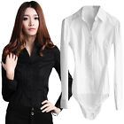 Lady V-Neck Pleated Bodysuit Blouses Tops Classic Shirts White Size S M L XL