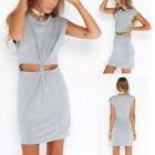 Womens Summer Dress Sleeveless Gray Cut Out Slim-cut Knot Casual Bodycon Dress