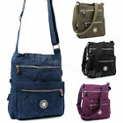 Womens Multi Zip Pockets Fabric Lightweight Cross Body Bag Shoulder Bag Messenge