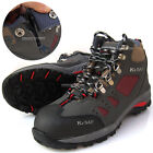 Men K2SAF Safety Work Boots Steel Toe Cap Snap fastener & Zipper Gray Red