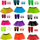 NEON TUTU SKIRT SET SHORT FISHNET GLOVES LEGWARMERS 1980S COSTUME FANCY DRESS