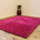 SMALL MEDIUM LARGE 3CM SPAGHETTI NOODLE FUSCHIA PINK  COLOUR SPARKLE SHAGGY RUGS