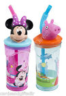 3D Drink Bottle Bottles Container Straw Minnie Mouse Peppa Pig Beaker Cup