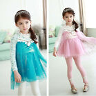 2015 HOT Frozen Elsa Anna Cosply Lace Tops Dress Clothes for Kids Girls 2-9 Y