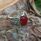 Greek Key pattern Sterling Silver mens ring with Agate (Aqeeq) stone. 925 Silver