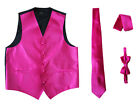 New Amanti MV688  Mens Solid Fushia  4PC Set Wedding Formal Tuxedo Vest
