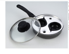 4 Cup Egg Poacher Pan Poached Non Stick Lined Saucepan Cooking Steel Kitchen Lid