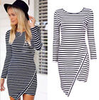 New Sexy Women Design Bodycon Casual Evening Party Pencil Hem Stripe Party Dress