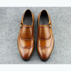 Brown leather Mens Oxford shoes Slip ons monk strap buiness dress shoes booties