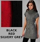 COZY THICK WARM LONG TUNIC SWEATER rhinestones S M L red black grey *part WOOL*