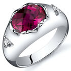 Oval Checkerboard Cut 2.50 cts Ruby Ring Sterling Silver Sizes 5 to 9
