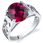Checkerboard Cut 3.50 cts Ruby Solitiare Ring Sterling Silver Sizes 5 to 9