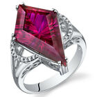 Kite Shape 8.00 cts Ruby Ring Sterling Silver Size 5 to 9