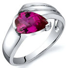 Contemporary Pear Shape 1.50 cts Ruby Ring Sterling Silver Sizes 5 to 9