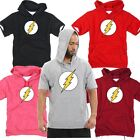 Mens Superhero Film The Flash DC Light Cotton Hooded tshirt Hoodie Hoody Top Tee