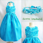 Pretty Turquoise blue summer bridal flower girl dress FREE HEADPIECE all sizes