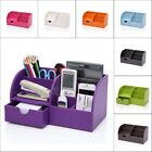 Fashion Leather Case Wooden 5-slot Stationery Storage Cosmetic Box Organiser