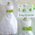 Beautiful White/apple green flower girl party dress size 18m 2 4 6 8 10 12 14