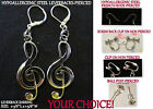 Large Treble Clef Earrings Silver or Gold *OPTION* Pierced OR Clip On Earrings