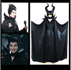 3 Pcs  Maleficent Cosplay Balck Dress Hallowmas Women Costume Hat+Cape+Dress
