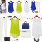 Fashion Ladies Solid Loose Casual Chiffon Sleeveless Vest Shirt Tops Blouse Tank